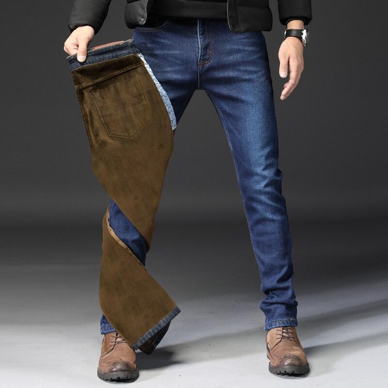 Vomint 2019 New Mens Jeans Brand Elasticity Stretch Fabric Business Mens Jeans  Regular Straight Plus Velvet Jeans