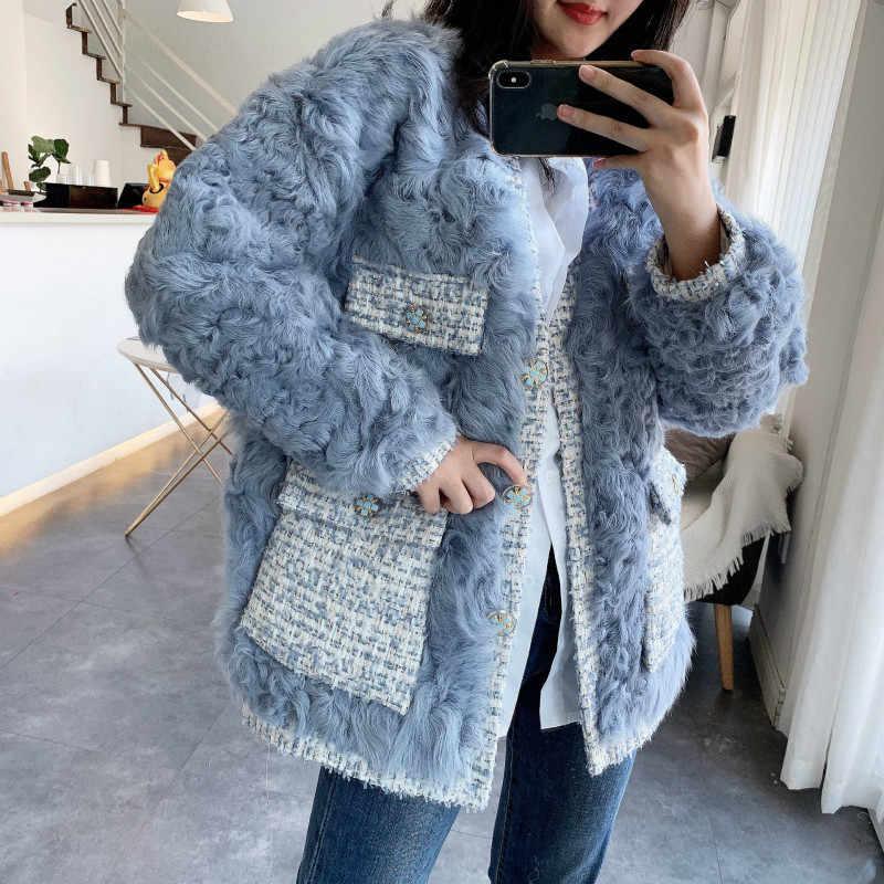本物の毛皮のコート女性 100% 羊のせん断ジャケット女性の冬服 2020 韓国エレガントなウールコートヴィンテージ毛皮トップス- 19011
