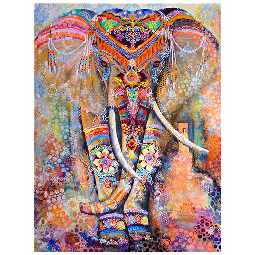 "Diamant Painting 5D DIY Diamond Painting Full Square  Drill ""Color elephant"" Embroidery Cross Stitch gift Home Decor Gift"