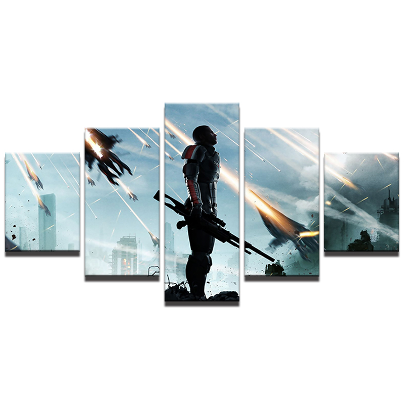 Modular Pictures Home Decor HD Printed Canvas Wall Art Poster 5 Panel Mass Effect Painting Living Room Game Photo Frame image