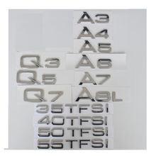 Хромированные буквы для audi a3 a4 a5 a6 a7 a8 a4l a6l a8l q3