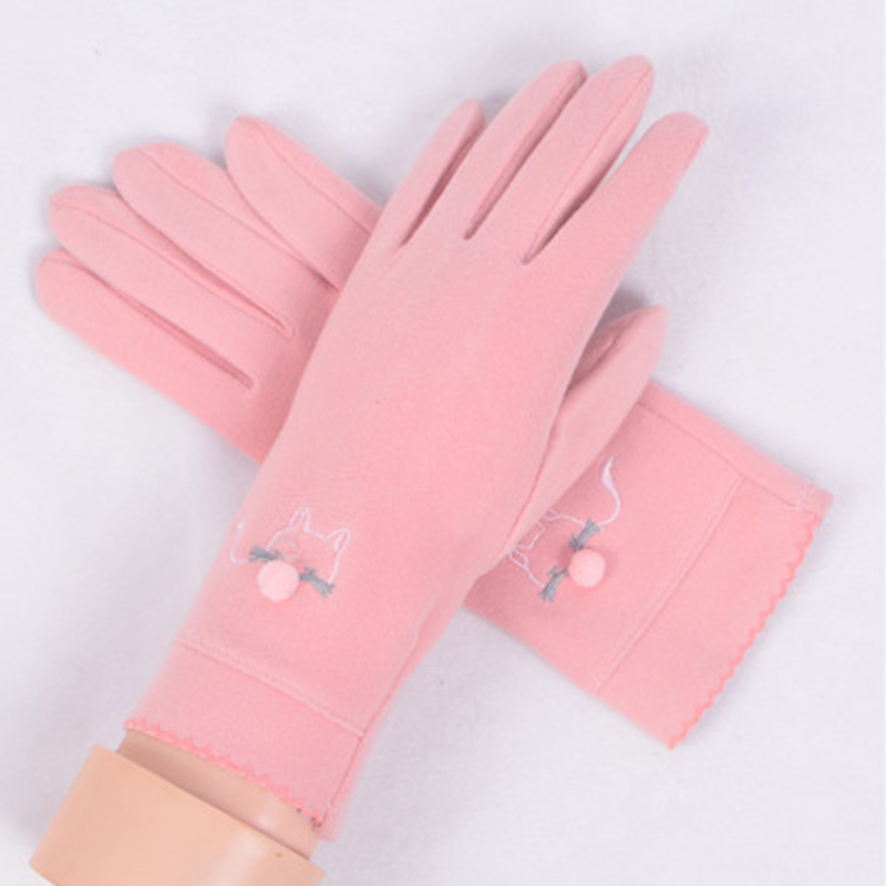 Winter Cashmere Cute Fox Embroidery Women's Thin Section Plus Velvet Warm Mittens Spring Windproof Cycling Driving Gloves E47