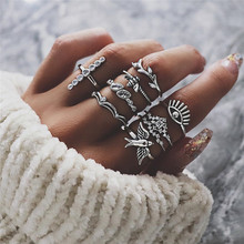 9 pcs/set Vintage Exaggerated Rings Set for Women Personality Little Bird Crystal Crown Charm Ring Jewelry Wholesale
