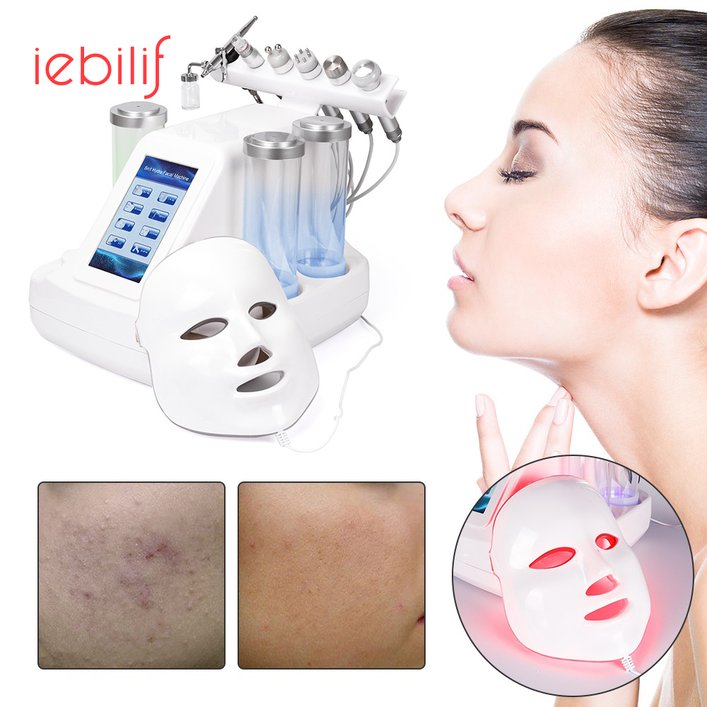 7 In 1 Vacuum Face Cleaning Hydra Water Oxygen Jet Peel Machine Massage Skin Care BIO Light RF Small Bubble Beauty Device
