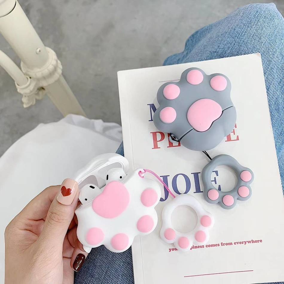 3D Silicone Cartoon Earphone Case For AirPods 2 Case Charging Box For Apple Air pods Case Cute Cat Protective Cover Strap Ring|Earphone Accessories|   - AliExpress