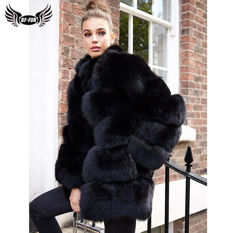 2019 Fashion Natural Fox Fur Coat For Women Winter Luxury Black Full Pelt Real Fox Fur Jacket With Stand Collar Female Overcoats