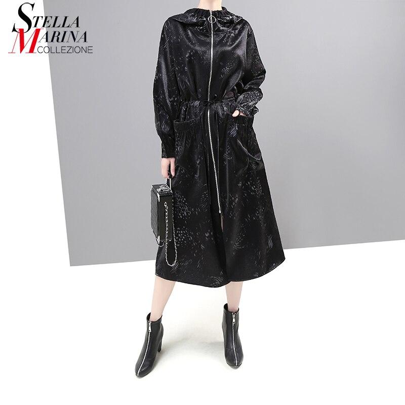* New Japanese Style New 2019 Women Winter Black Long Hooded   Trench   Coat Zipper Pocket Lady Plus Size Windbreaker Outerwear 5685