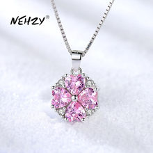 NEHZY – collier en argent Sterling 925 pour femmes, pendentif de haute qualité, rétro Simple, cristal rose, Zircon, Long 45CM, nouvelle collection
