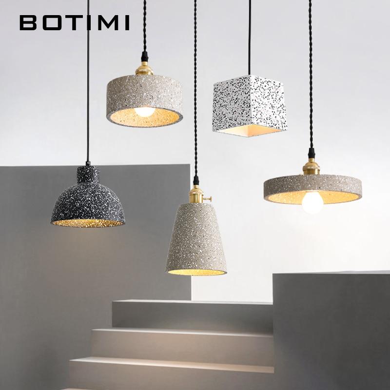 Botimi nordic cimento pingente luzes para sala de jantar cabo pendurado lâmpada cabeceira quarto mondern cinza casa luminárias