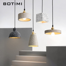 BOTIMI Nordic Cement Pendant Lights For Dining Room Cord Hanging Bedside Bedroom Lamp Mondern Gray Home Lighting Fixtures