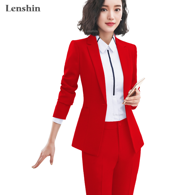 Lenshin 2 Piece Set Simple Formal Pant Suit Blazer With Pockets Office Lady Designs Women Single Button Jacket And Trouser