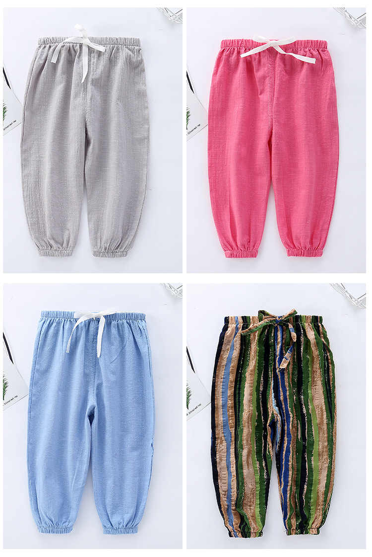 Spring Summer Kids  Air Conditioning Pants Boys Girls Mosquito Pants Kids Home Mosquito Pants Thin Section Bloomers Kids Pants