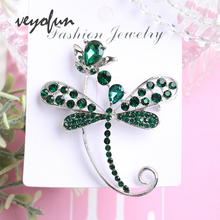 Veyofun 4 Colour Dragonfly ZA Crystal Brooches for Women Rhinestone Fashion Jewelry Pins Gift