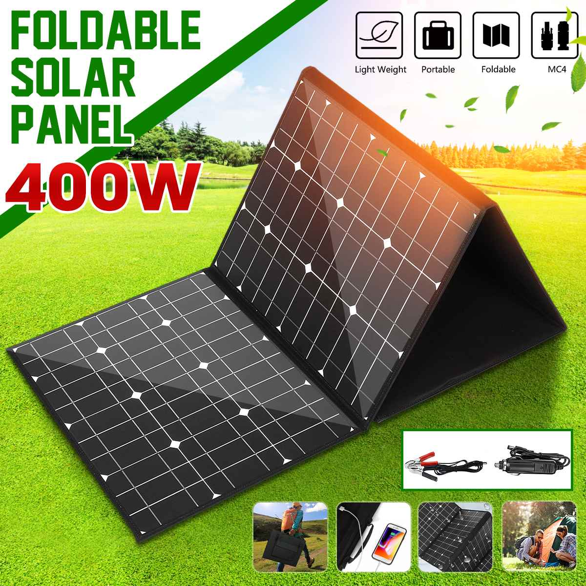 18V 400W Solar Panel Monocrystallinel Solar Cells Folding Package With 1.5m Cables +USB Interface DC Set For Outdoor Working