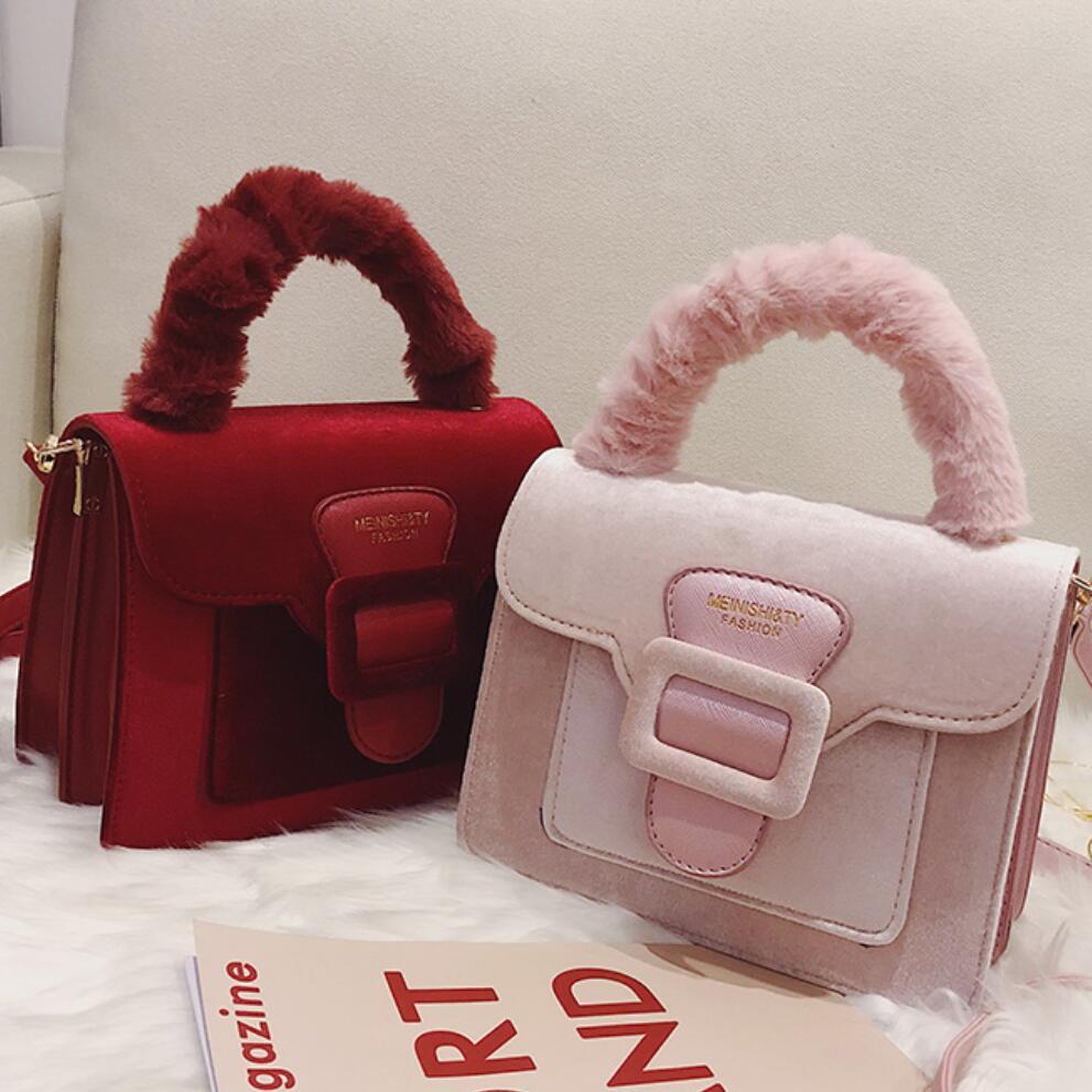 Elegant Female Plush Tote Bag 2019 Winter Fashion New High Quality Velvet Women's Designer Handbag Travel Shoulder Messenger Bag
