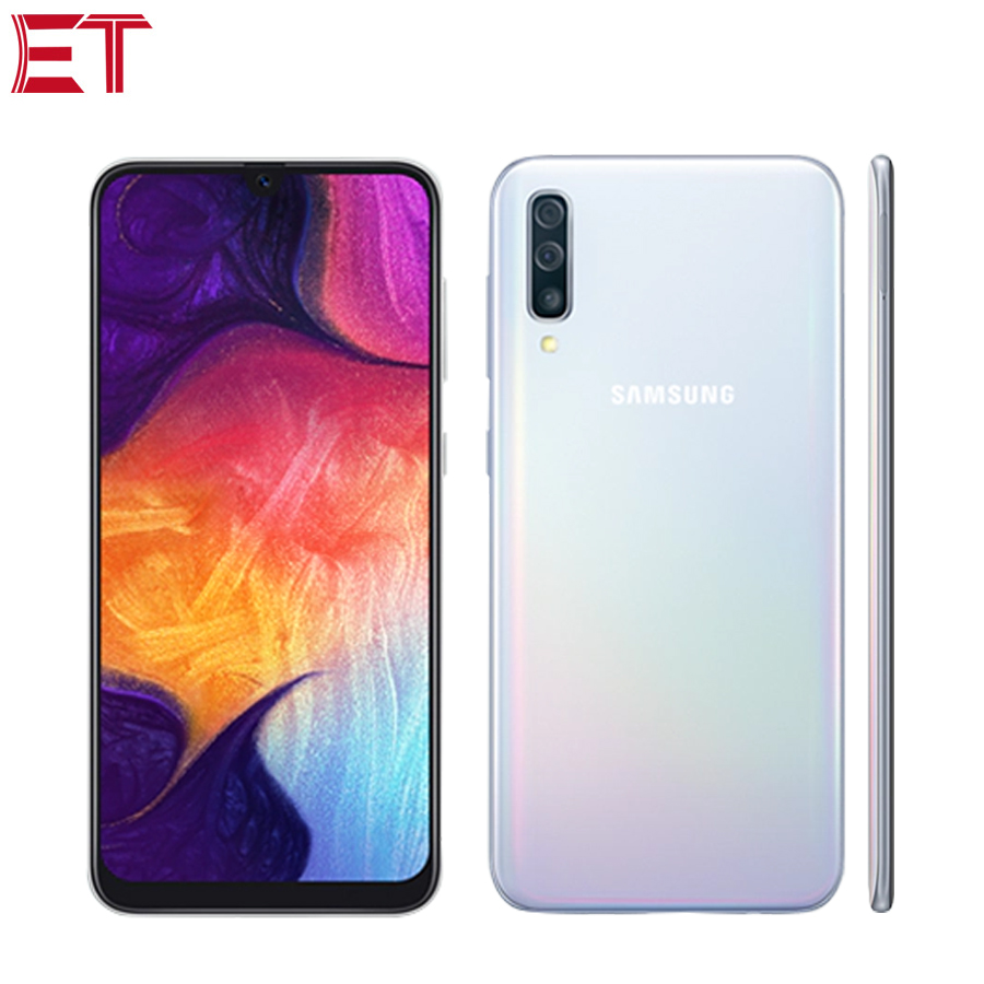 """New Samsung Galaxy A50 A505F DS 4G Mobile Phone 6.4"""" 4GB RAM 128GB ROM Exynos 9610 Octa Core Three Rear Camera Android 9.0 Phone