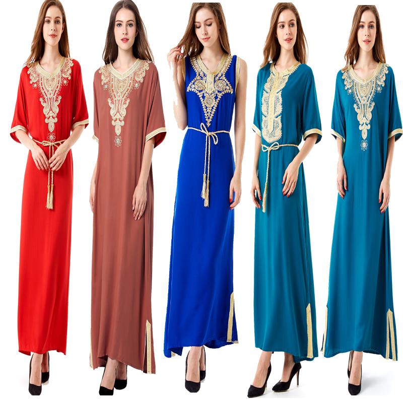 Muslim clothing ladies Abaya Ramadan Arab Turkey Bangladesh Malaysia Saudi Arabia short sleeve Islamic Clothing