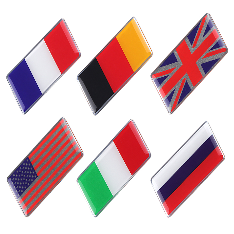 Auto 3M Tape Metal Aluminum Alloy 3D Emblem Badge Racing Sports Decals Sticker For Russia Italy England German France USA Flag