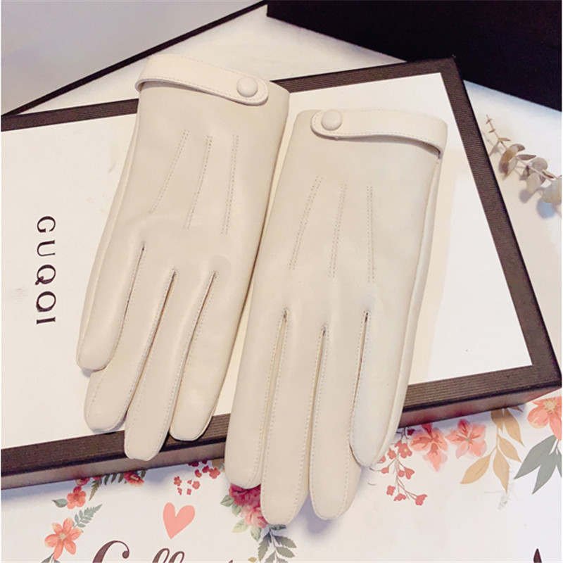 Sheepskin Gloves Female Winter Thicken Plus Velvet Thermal Driving Short Style Locomotive Touch Screen Real Leather Gloves 2102