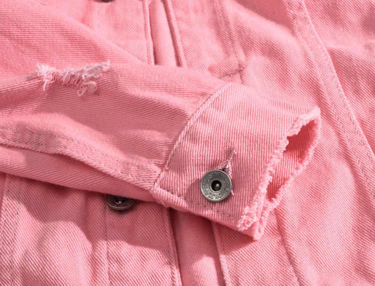 Mężczyźni różowe kurtki jeansowe odzież wierzchnia dżinsowe kurtki nowa wiosna jesień mężczyźni otwory kurtki Jena mężczyźni Slim Denim kurtki rozmiar 3XL