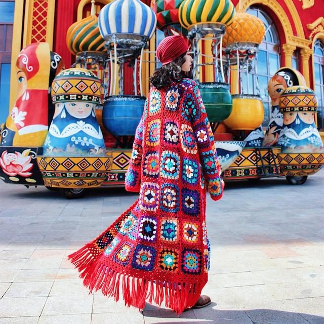 Nepalese Hand-Made Wool Hippie Crochet Box Stitching Ethnic Sweater Red Fringe Cardigan Long Coat 1
