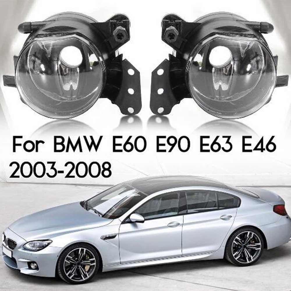 2pcs Car Front Fog Lights Housing Lens Clear No Bulbs Car Light Assembly For BMW E60 E90 E63 E46 323i 325i 525i E60 fog light image