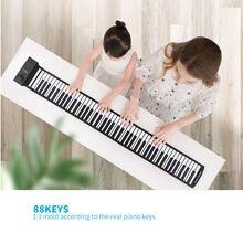 88 клавишная одноцветная рулонная клавиатура для пианино портативная