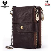 100% Genuine Cow Leather Wallet Rfid Men Crazy Horse Coin Purse Short Male Money Bag Mini Walet High Quality Card Holder 2020
