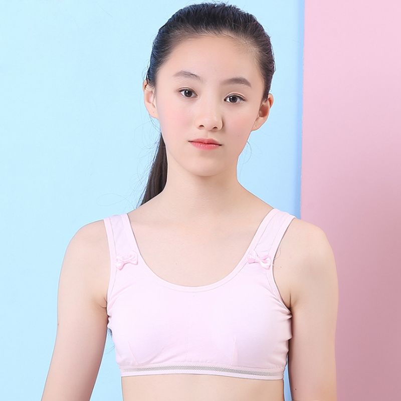Teen Girl Sports Bra Kids Top Camisole Underwear Cotton Soft Cup High Quality  Young Puberty Small Training Bra For 8-14 Years