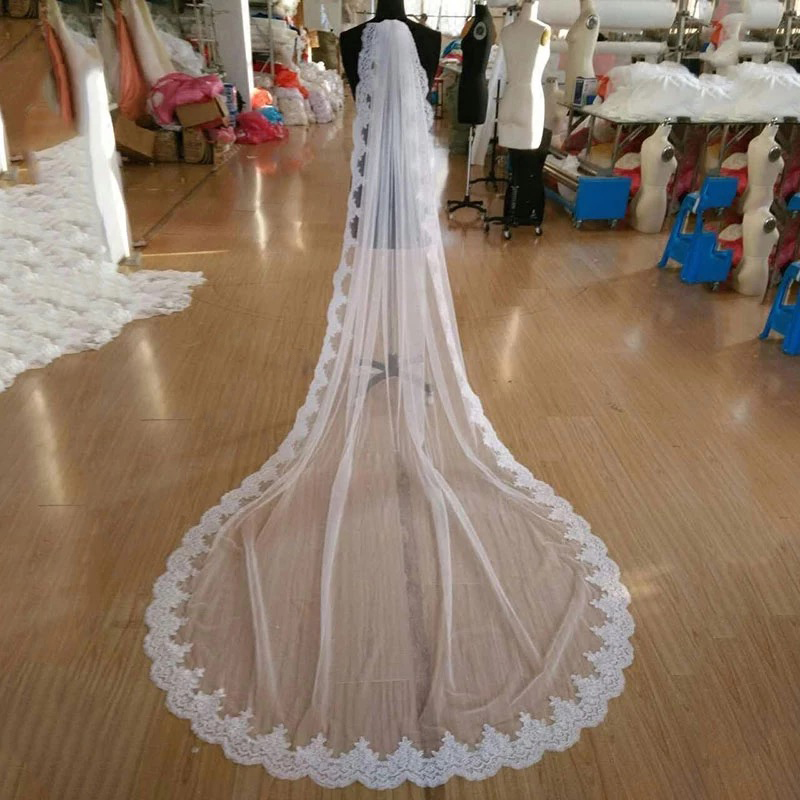 2019 Long Wedding Veil Chapel Length 2M/3M White Lace Appliqued Bridal Veil With Comb