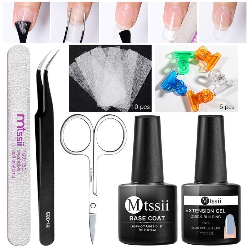 Fiber Poly Nail Extension UV Gel Tools Kits Manicure Set Nail File Scissors Crystal Gel Slice Brush Nails Base Top Coat Nail Art