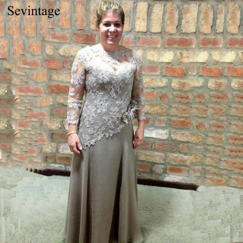 Sevintage 3/4 Sleeves Long Chiffon Mother of the Bride Dress Illusion Tulle Lace Wedding Party Mother Gowns vestido de madrinha