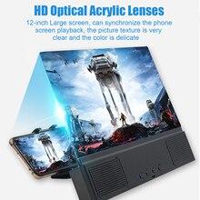 Besegad 3 em 1 12 polegada 3d hd tela do telefone móvel amplificador lupa projetor com bluetooth alto falante função de energia móvel