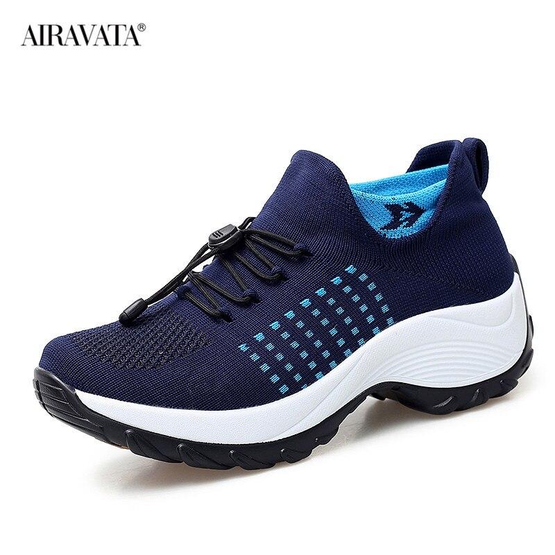 Blue-Women Casual Shake Sneakers Breathable Platform Walking Shoes
