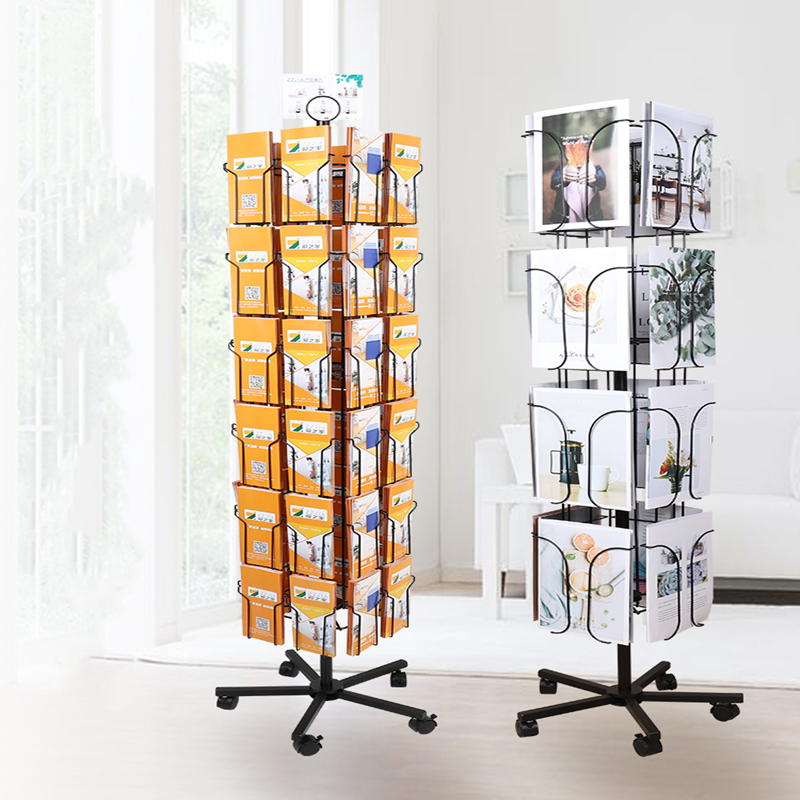 Home Of Exhibition Postcard Information Brochure Rotation Display Stand Single Color Folding Magazine Storage Shelf Landing