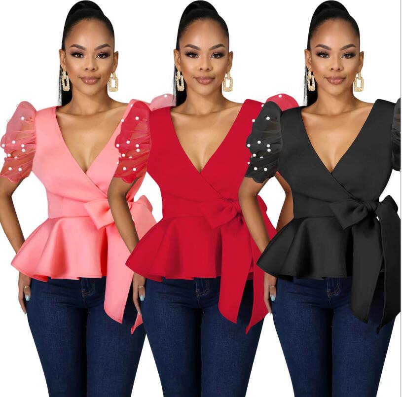 2020 kobiet lato łuk t-shirty dekolt krótki bufiasty rękaw Sexy Tshirt Sashes Ruffles praca w biurze eleganckie topy w stylu Casual, damska koszule