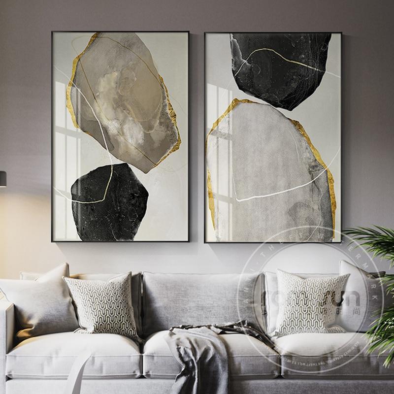 Абстрактная картина желтого и черного блоков на холсте, модный плакат, печать странных вещей, настенное искусство для гостиной