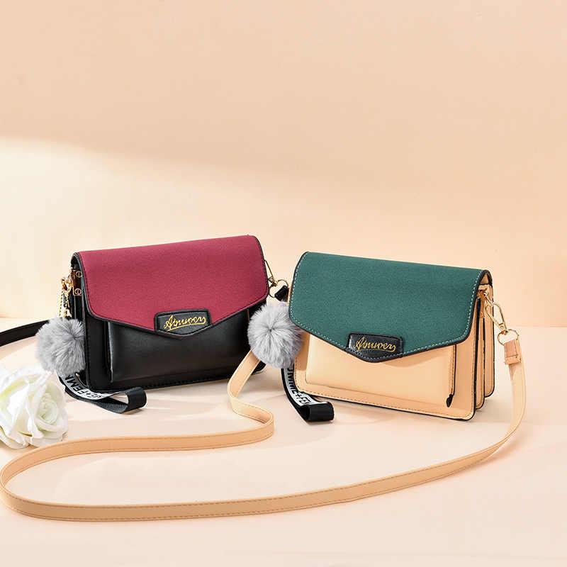 Bolsos de bandolera para mujer 2019 bolso de hombro Vintage para mujer bolsos y monederos de Color de costura para mujer bolso de mano de viaje