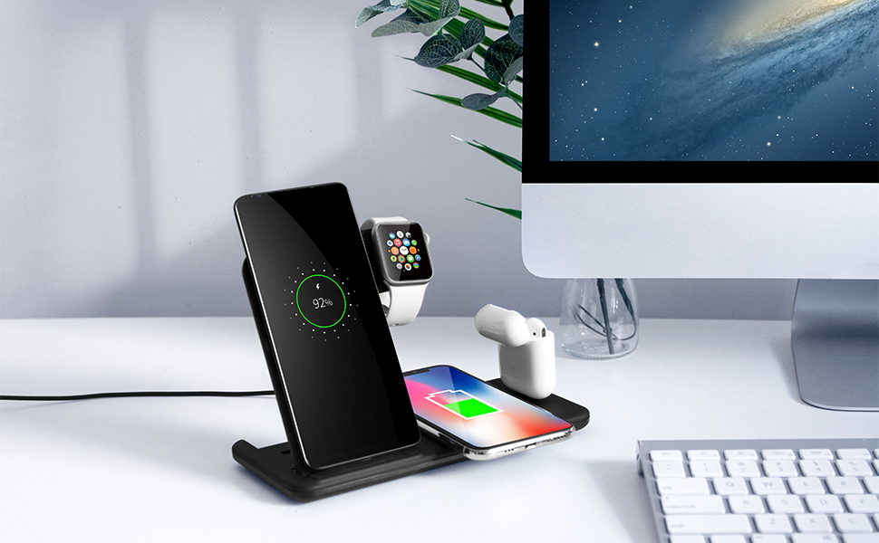 Fast Wireless Charger Stand For iPhone, Air-pods Pro, i Watch