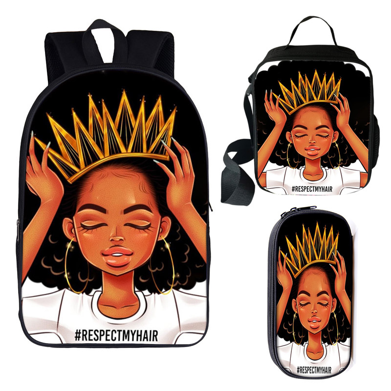 3 Pcs/set Afro Girls Print Backpack For Teenager American Brown Girl Children School Bags Women Rucksack Student Book Bag