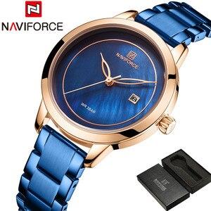 Image 2 - NAVIFORCE Women Watches Top Brand Luxury Ladies Wristwatch Stainless Steel Classic Bracelet Female Clock Relogio Feminino 5008