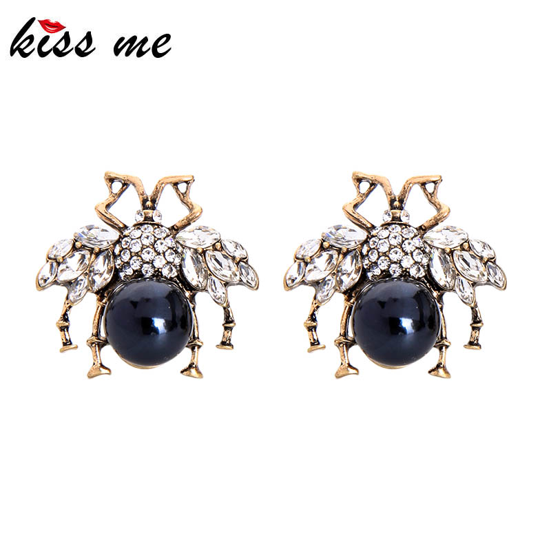 Kissme White Blue Acrylic Pearl Insect Stud Earrings For Women Unique Crystal Glass Vintage Gold Color Earrings Fashion Jewelry