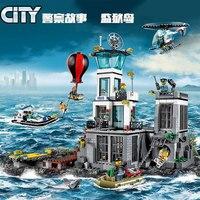 Nova cidade de brinquedo construção  compatível com lepining city series 60130 blocos de construção a ilha da prisão  brinquedos  hobbies