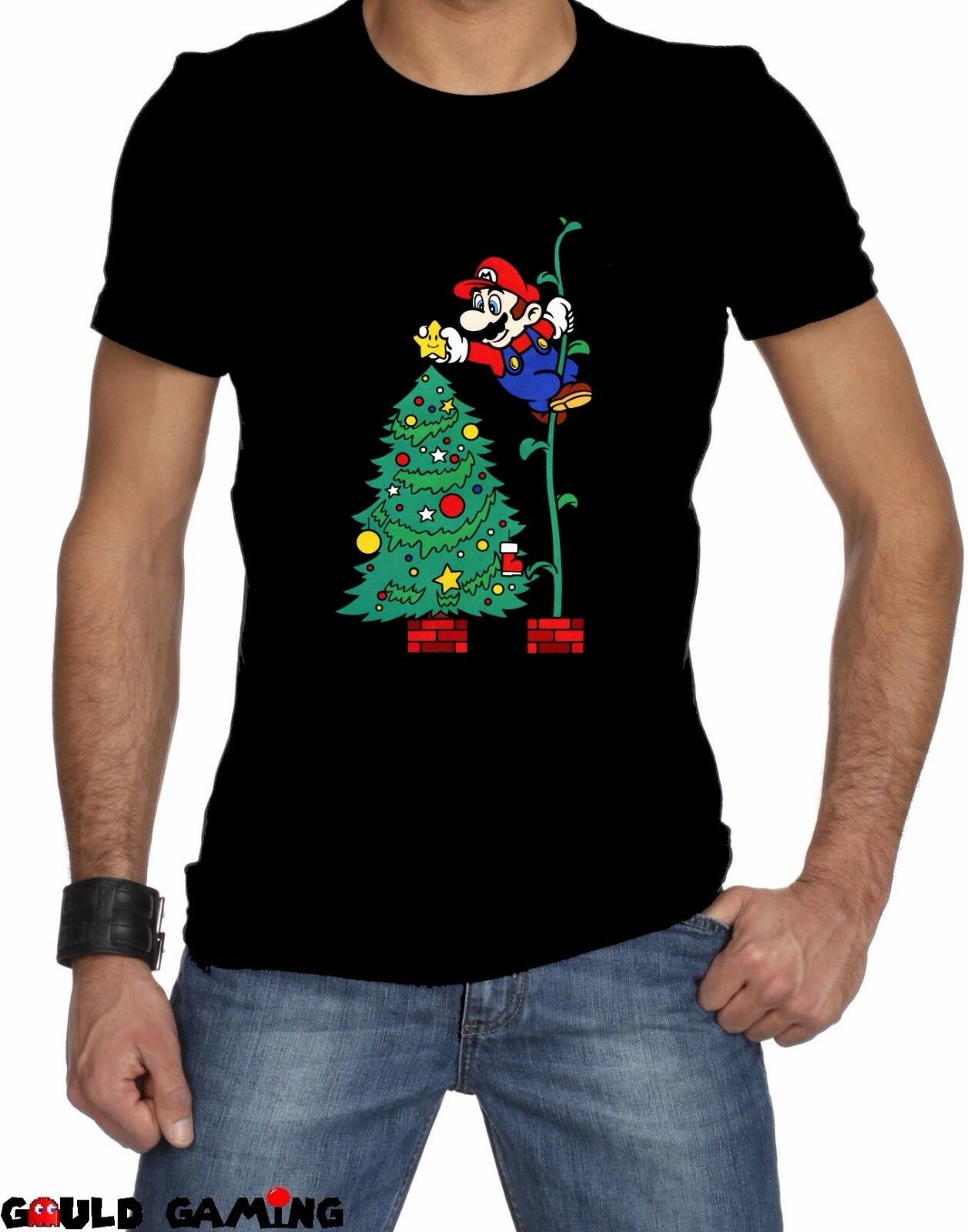 Super Mario Brothers Christmas T-Shirt Unisex Cotton Video Game Switch Brand New