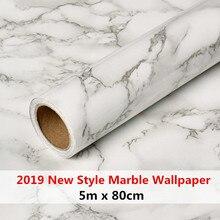 Papier peint autocollant marbre épais 5m x 80cm, nouveau style, anti huile, cuisine, meuble ou comptoir, rénovation, meuble