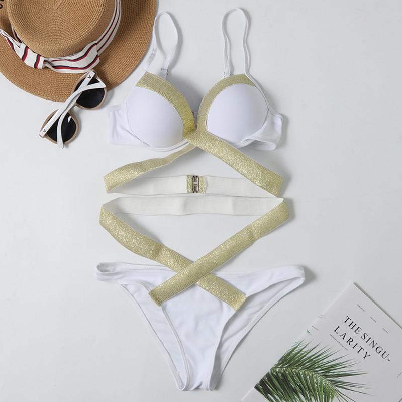 2020 New Sexy Flash Bikini Swimwear Women High Waist Swimsuit Bandage Bikini Set Push Up Bathing Suits Beach Wear Swimming Suit 4