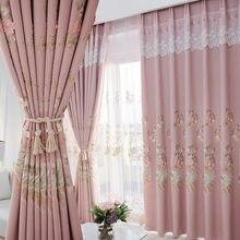 Cortinas modernas e minimalistas bordados cortinas para sala de estar e para o quarto cortina janela da tela cortinas francesas
