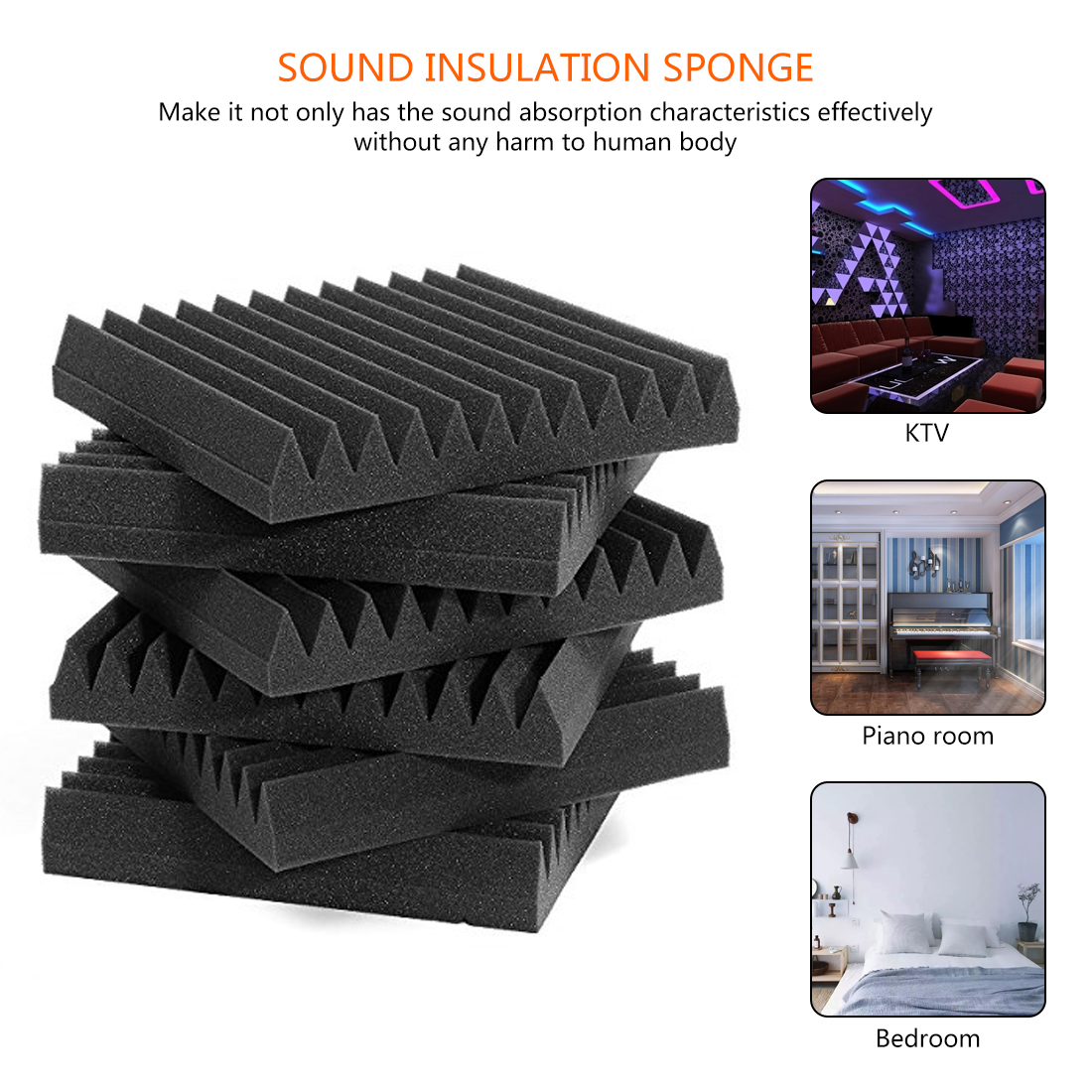 12Pcs 300 X 300 X 50mm Soundproofing Foam Acoustic Foam Sound Treatment Studio Room Absorption Wedge Tiles Polyurethane Foam