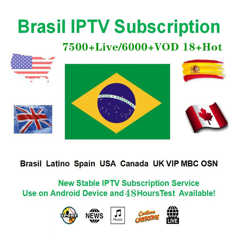 Brazil Iptv Subscription HD Iptv 7500+ World Mexico Latin Brazil Peru Columbia Argentine Chili For Android M3u Enigma Smart Iptv