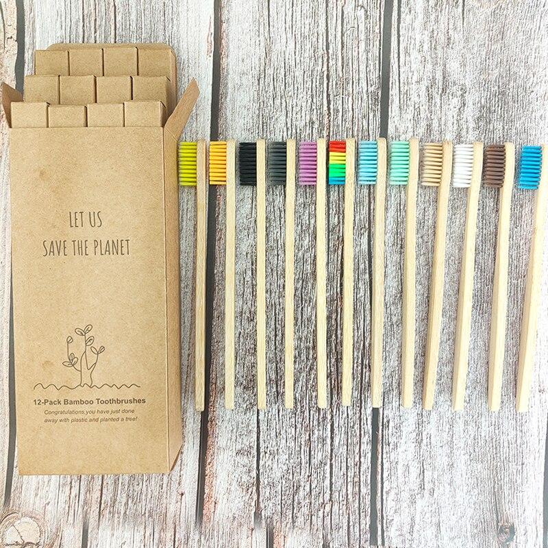 Горячая Распродажа, 12 шт., Экологичная бамбуковая зубная щетка, высокое качество, разные цвета, 100% биоразлагаемая натуральная ручка, щетка д...